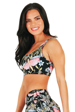 Yoga Democracy Women's Eco-friendly Medium Support Everyday yoga sports Bra in Pretty In Black butterfly and moths print made in the USA from post consumer recycled plastic