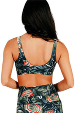 Yoga Democracy Women's Eco-friendly Medium Support Everyday yoga sports Bra in Feeling Ferntastic fern plant hummingbird print made in the USA from post consumer recycled plastic