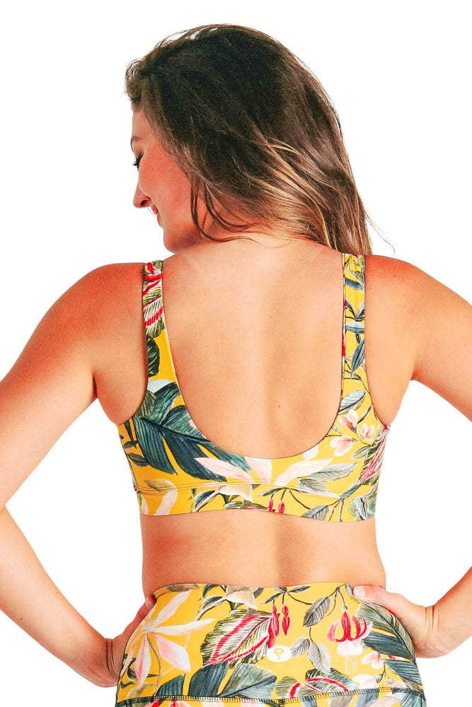 Yoga Democracy Women's Eco-friendly Medium Support Everyday yoga sports Bra in Curry Up Yellow floral printed fabric made in the USA from post consumer recycled plastic