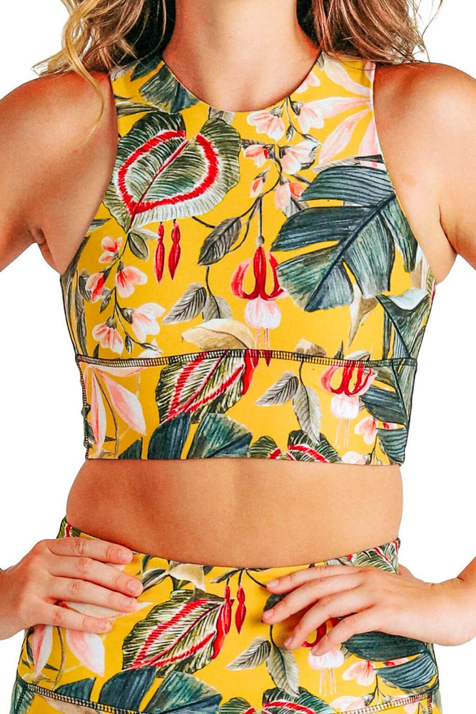 Yoga Democracy Women's Eco-friendly Free Range yoga sports Bra in Curry Up yellow and green floral print made in the USA from post consumer recycled plastic