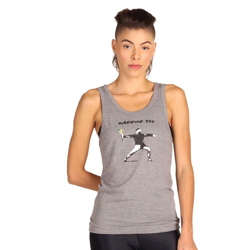 American Made Apparel, Accessories, Clothing, Shirts, Tops by Yoga Democracy Warrior Too - Bamboo Organic Tank Tee - Grey Right Side
