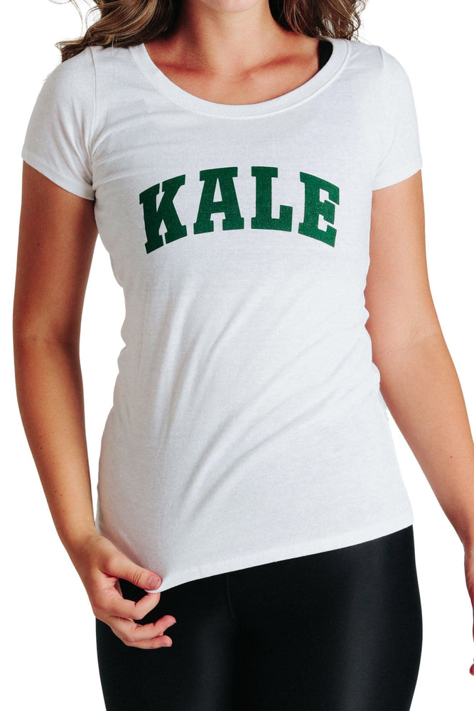 Yoga Democracy Graphic Top Kale University - Eco Scoop Neck Tee - White