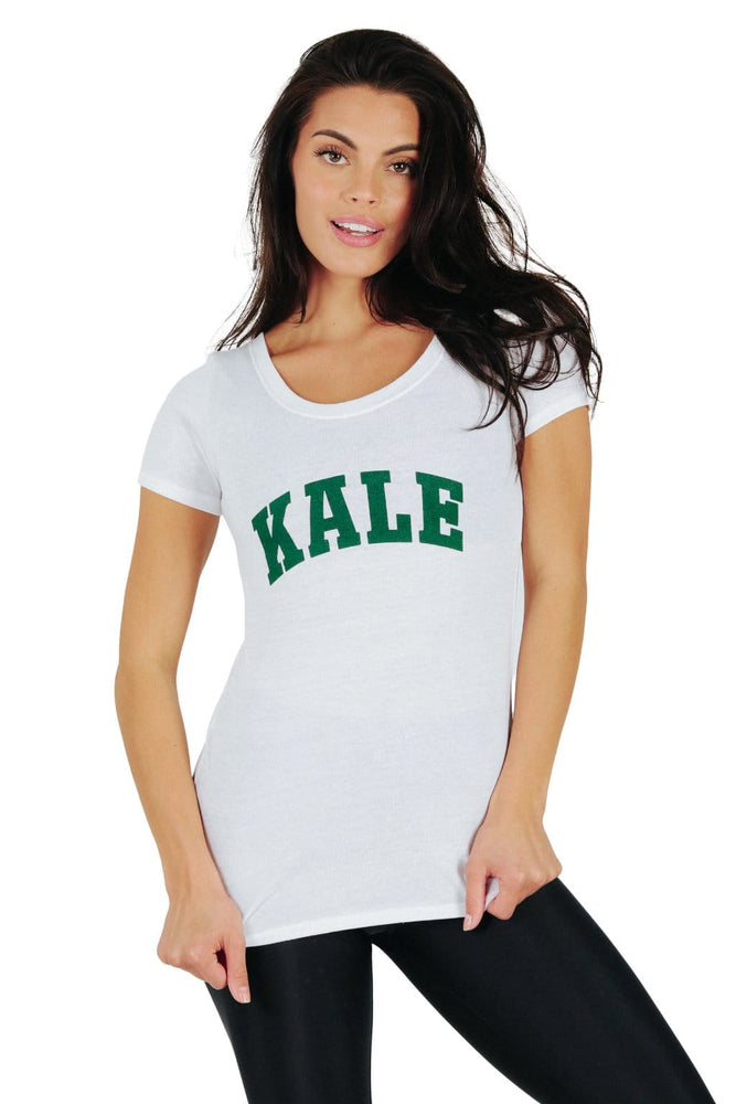 Kale University - Eco Scoop Neck Tee - White