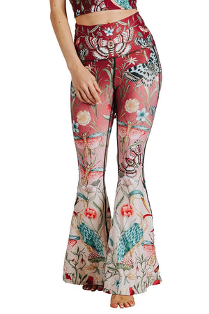 Yoga Democracy Leggings Pretty In Pink Printed Bell Bottoms (4359787118730)