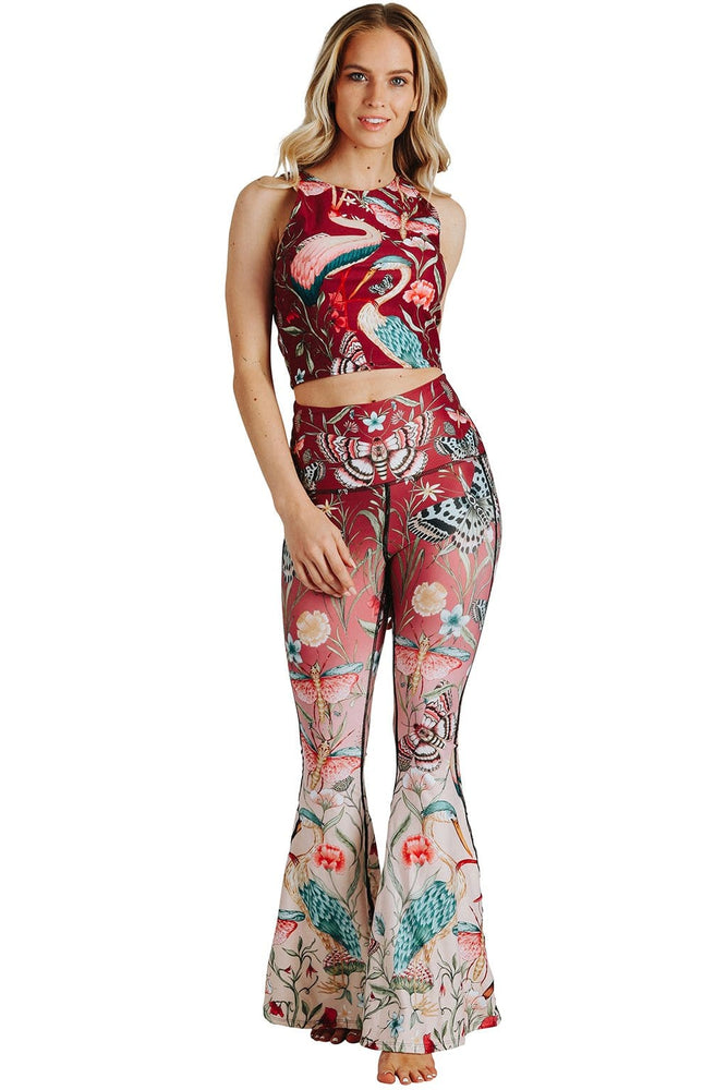 Yoga Democracy Leggings Pretty In Pink Printed Bell Bottoms