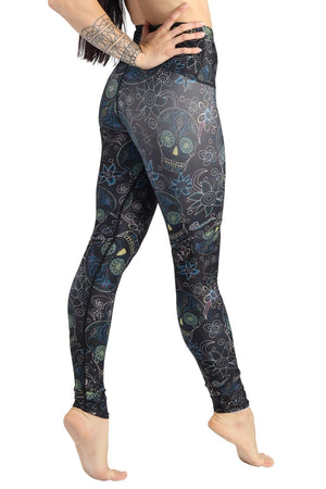 Yoga Democracy Leggings Day of the Dead Blackout Printed Yoga Legging