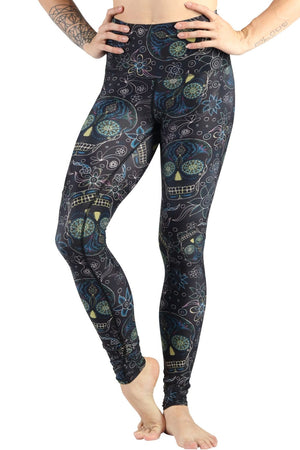 Yoga Democracy Leggings Day of the Dead Blackout Printed Yoga Legging - Final Sale