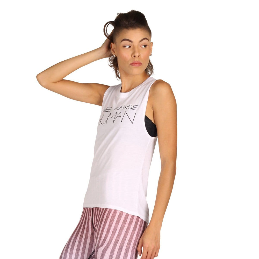 Yoga Democracy Apparel & Accessories > Clothing > Shirts & Tops Free Range Human - Bamboo Organic Muscle Tee -White