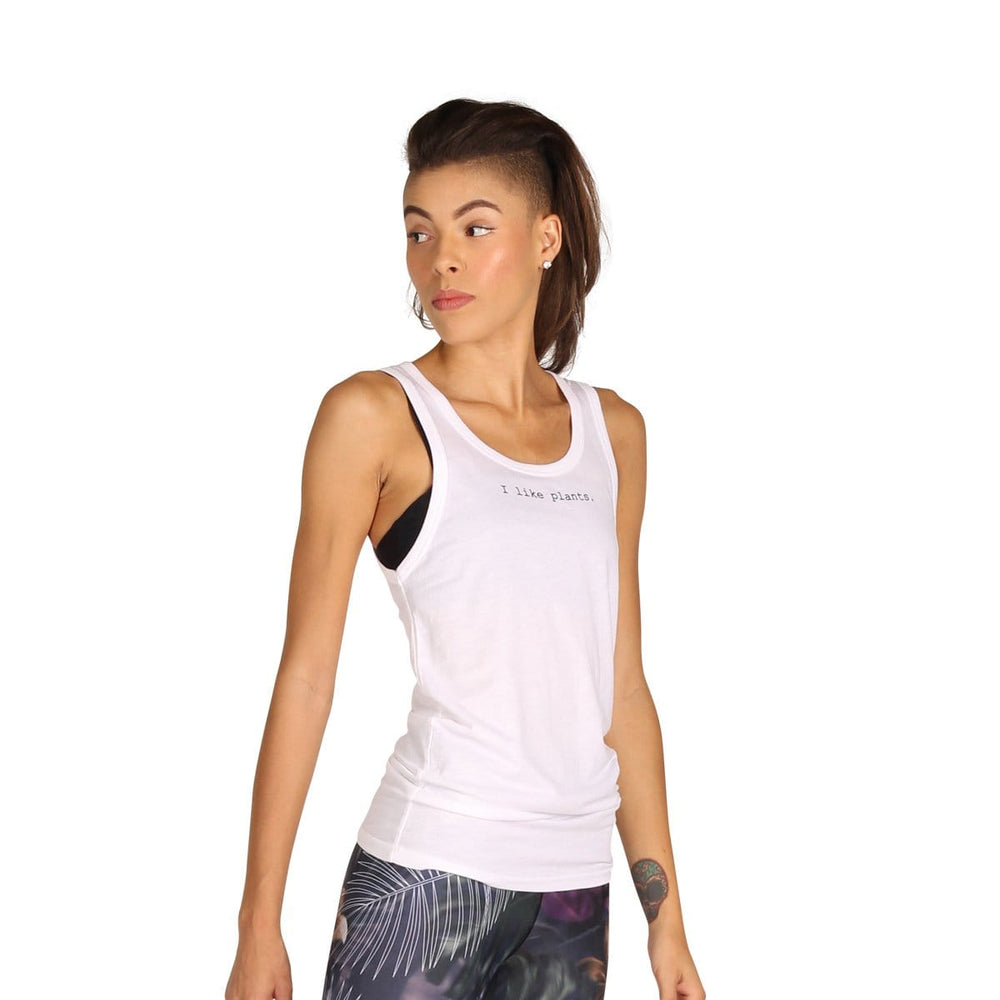 Yoga Democracy Printed Tops for Run, Swim, I Like Plants muscle tank