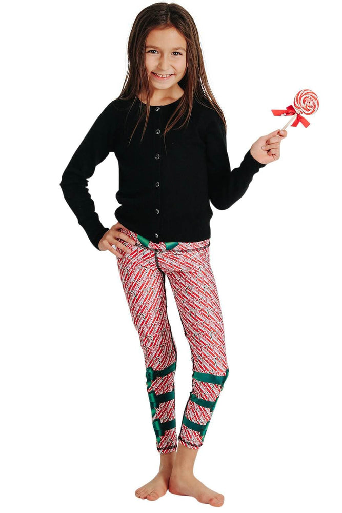 Kids Candy Cane Madness Yoga Leggings