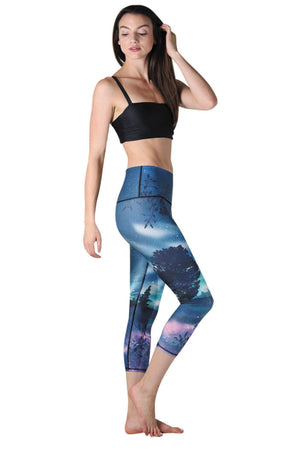 American Made Leggings by Yoga Democracy Northern Lights Printed Yoga Crops