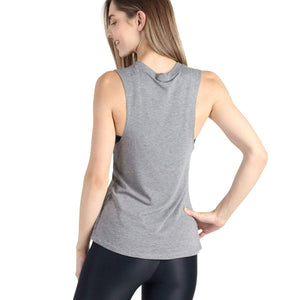 Yoga Democracy Graphic Top Peaceful AF - Bamboo Organic Muscle Tee - Grey