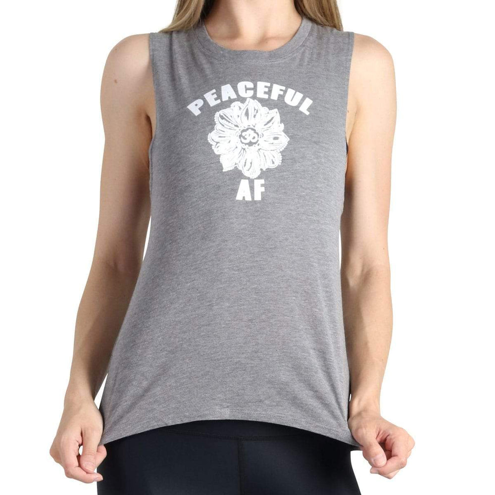 Yoga Democracy Apparel & Accessories > Clothing > Shirts & Tops Peaceful AF - Bamboo Organic Muscle Tee - Grey