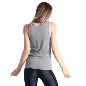 Yoga Democracy Graphic Top Plant Based - Bamboo Organic Muscle Tee - Grey