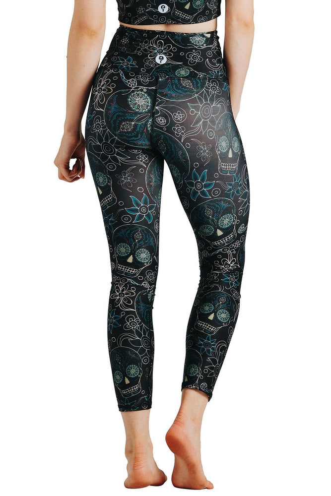 Yoga Democracy Leggings Day of the Dead Blackout Printed Yoga Crops - Final Sale