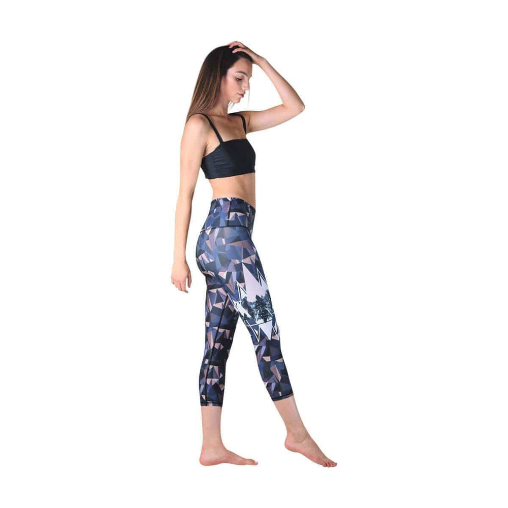 American Made Leggings by Yoga Democracy Kaleidoscape Printed Yoga Crops - Final Sale