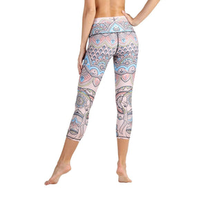 Yoga Democracy Leggings Mystic Elephant Printed Yoga Crops - Final Sale