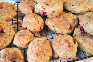 Cranberry scones with orange and walnuts