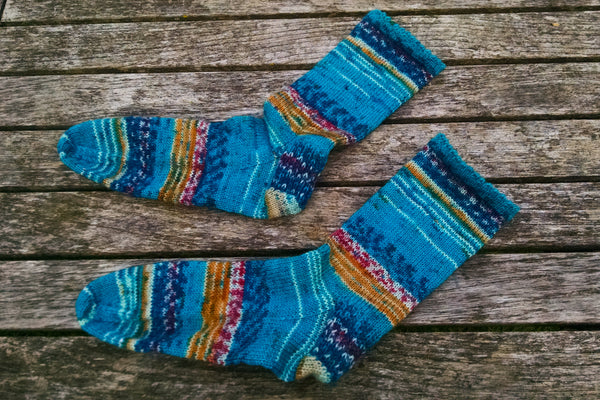 Vivace socks in self-patterning yarn
