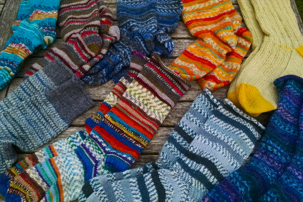 hand-knit socks for donation