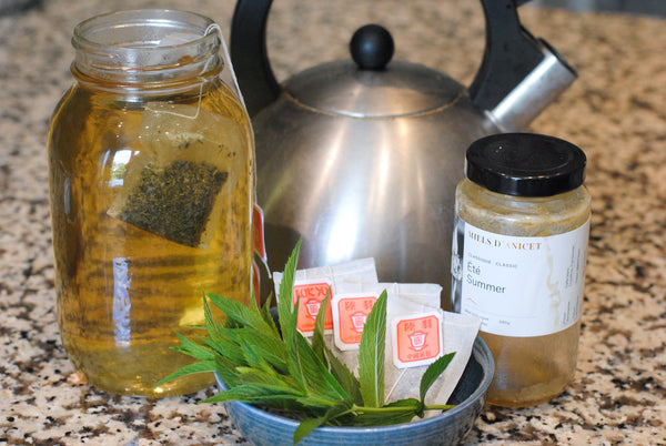 Iced tea ingredients and kettle