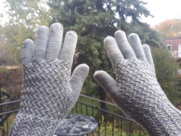 Lanark gloves with mended fingertips