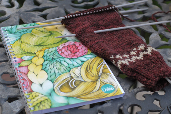 Vive la laine notebook and sweater sleeve in progress