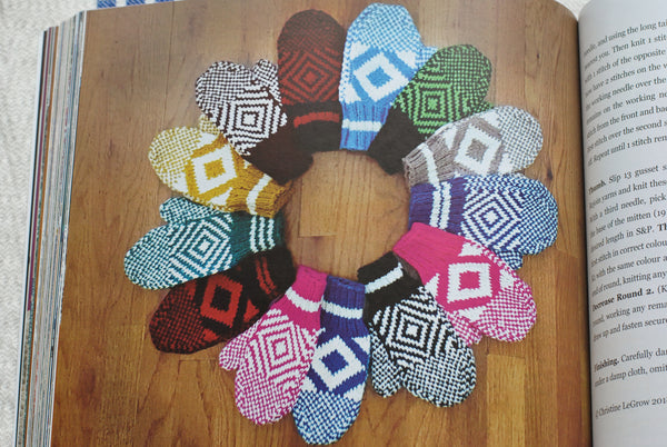 Colourful ring of mittens with diamond pattern