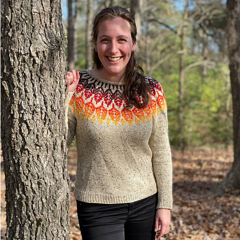 Arboreal handknit sweater with Elora yarn