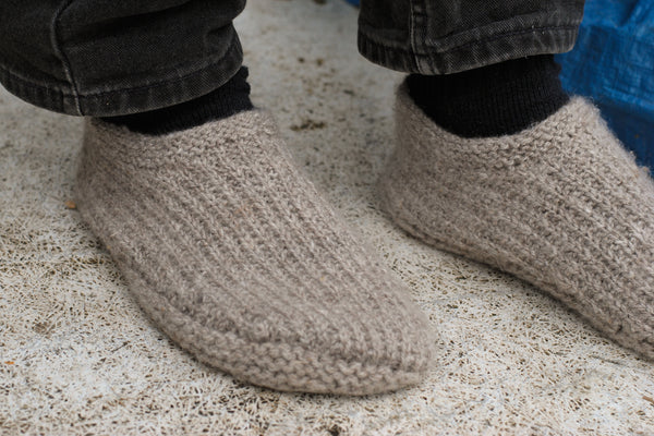 Grey hand-knit slippers