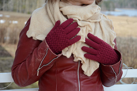 Lanark gloves modeled with an ivory scarf and leather jacket