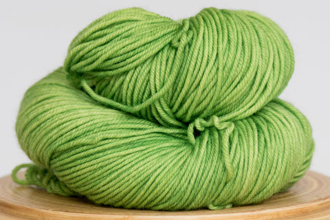Minuet hand-dyed merino yarn in Grasshopper