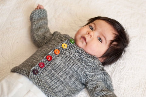 Little Knots Cardigan with rainbow buttons