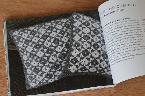 Saltwater Gifts open to the Diamond Cushion pattern, a graphic black and white diamond cushion cover