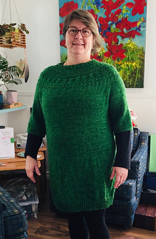 Ranunculus sweater in hand-dyed Canadian Norwood yarn