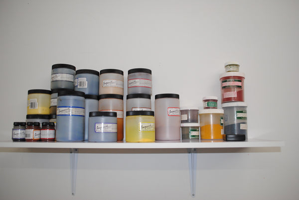Shelf with many containers of dye powder