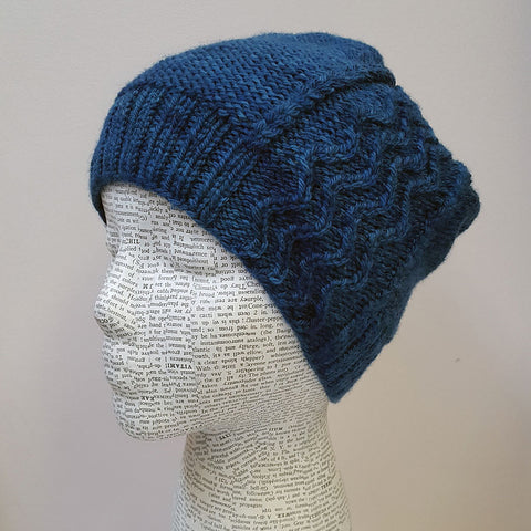 Ocean Dreams handknit hat in Norwood yarn
