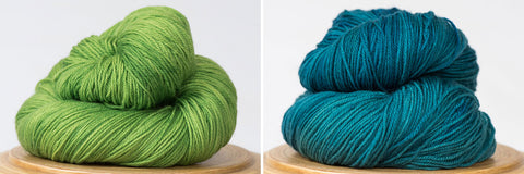 Messa di Voce hand-dyed yarn in Grasshopper and Georgian Bay