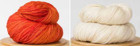 Messa di voce hand-dyed yarn in Blood Orange and Natural