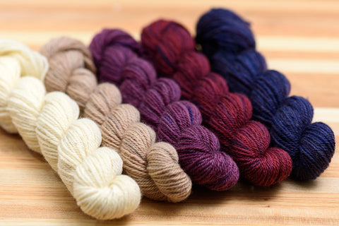 Elora Canadian hand-dyed mini-skein set in Lantern Hill colourway