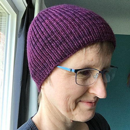 Cozy Purple hat in Norwood hand-dyed yarn