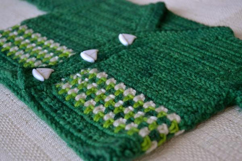 Shackleton crochet baby sweater with sailboat buttons