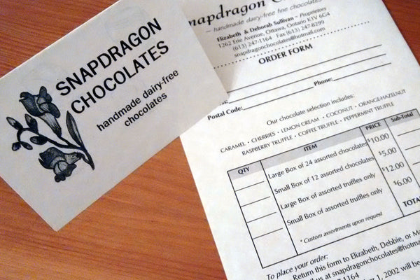 Snapdragon chocolates logo and order form
