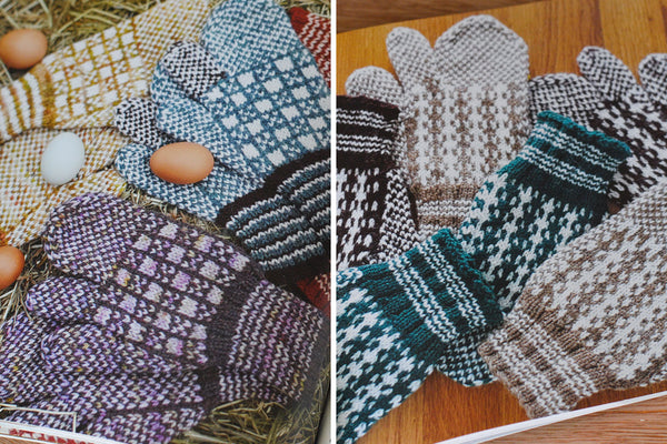 Two side by side photos of trigger mitten patterns from saltwater gifts