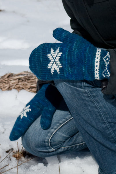 Winter Sonata mitten knitting pattern with snowflake motif