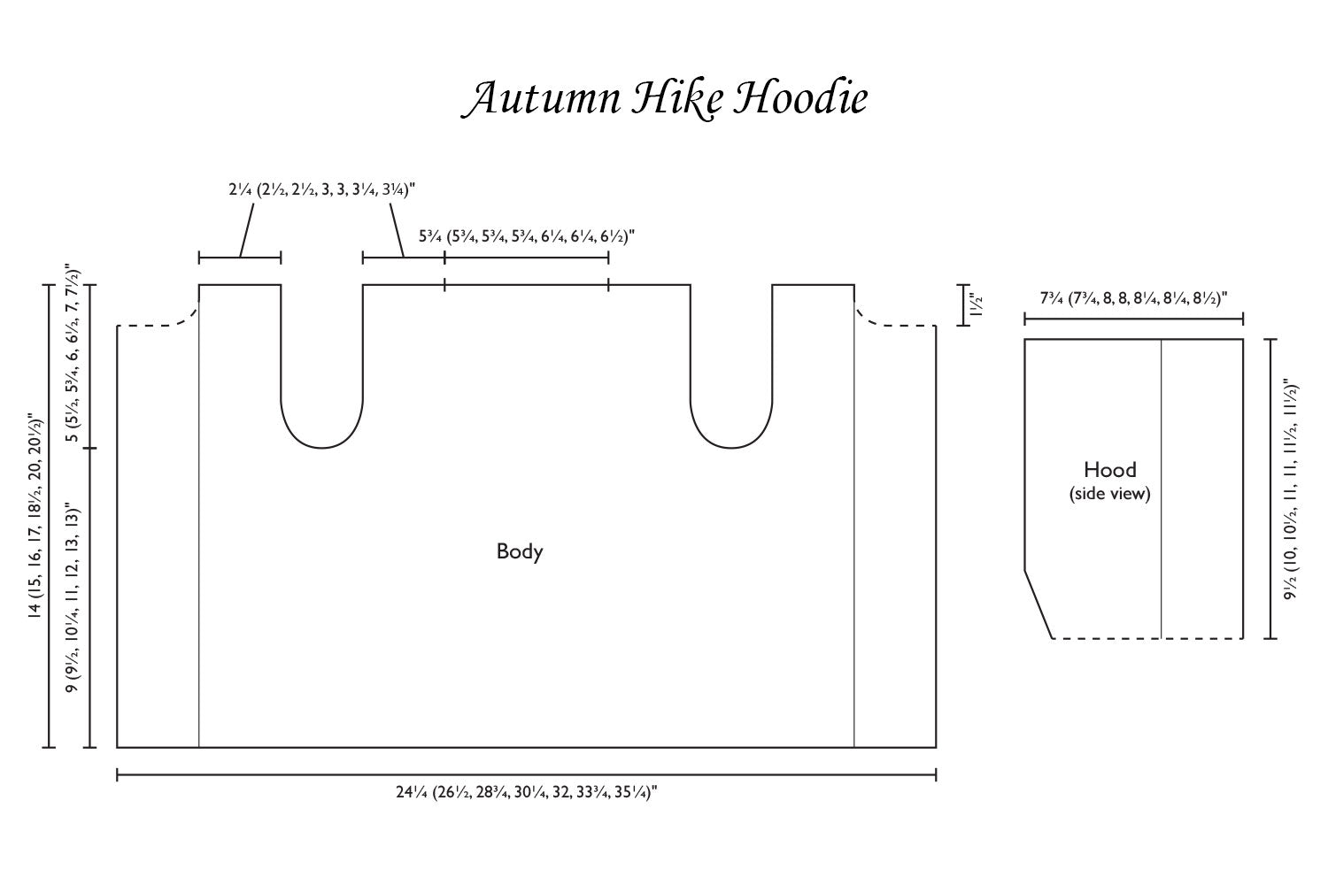 Detailed schematic line drawing with dimensions for hoodie