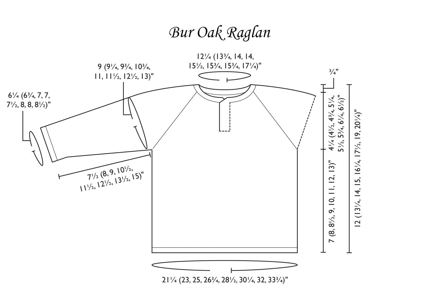 Detailed schematic line drawing with dimensions for sweater