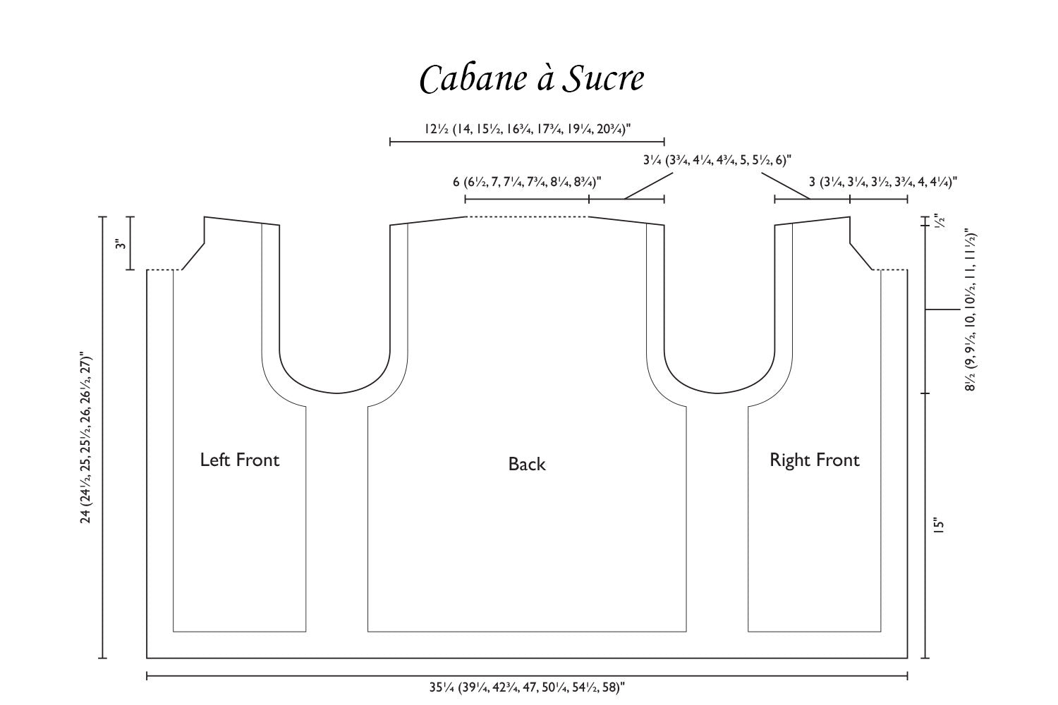 Detailed schematic line drawing with dimensions for vest