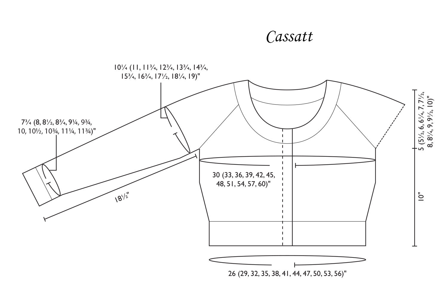 Detailed schematic line drawing with dimensions for Cassatt
