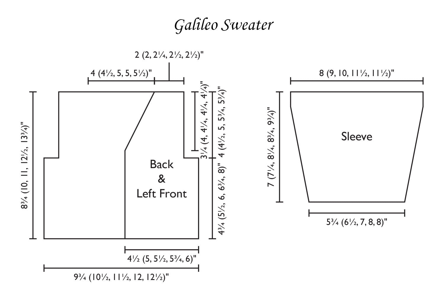 Detailed schematic line drawing with dimensions for baby cardigan